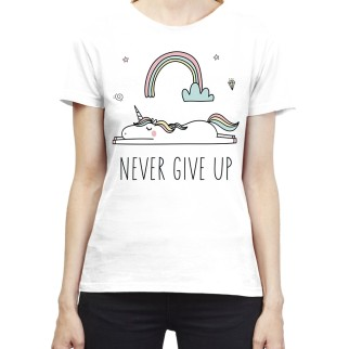 """T-Shirt Licorne """"Never Give Up"""""""