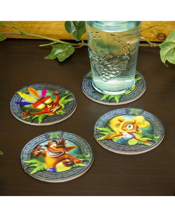 4 dessous de verres 3D - Crash Bandicoot