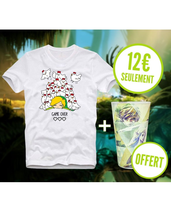"T-shirt ""L'Attaque des Cocottes"" + Verre Zelda OFFERT"