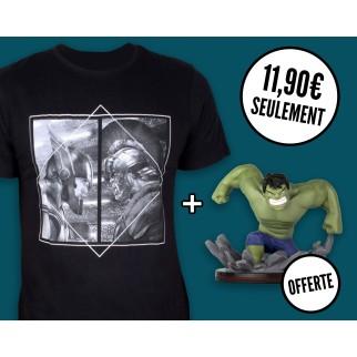 """T-shirt """"Thor VS Hulk"""" +  Qfig Hulk OFFERTE"""