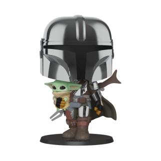 "Figurine Pop XL Star Wars - Mandalorian ""Mandalorian portant l'Enfant"""