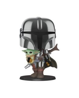 "Figurine Pop XL 25cm Star Wars - Mandalorian ""Mandalorian portant l'Enfant"""