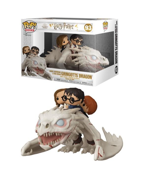 Figurine Pop! Ride Harry, Ron, Hermione sur Dragon de Gringotts