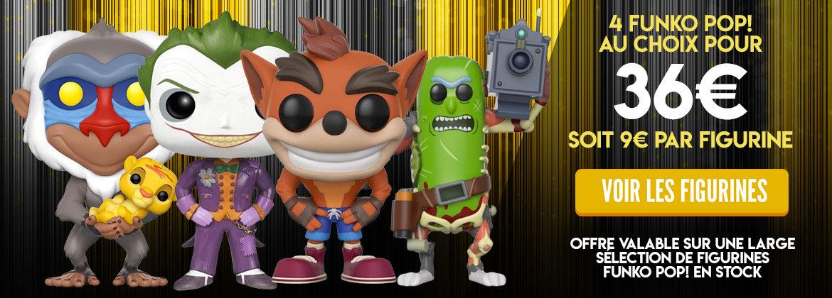 4 figurines Funko Pop pour 36€